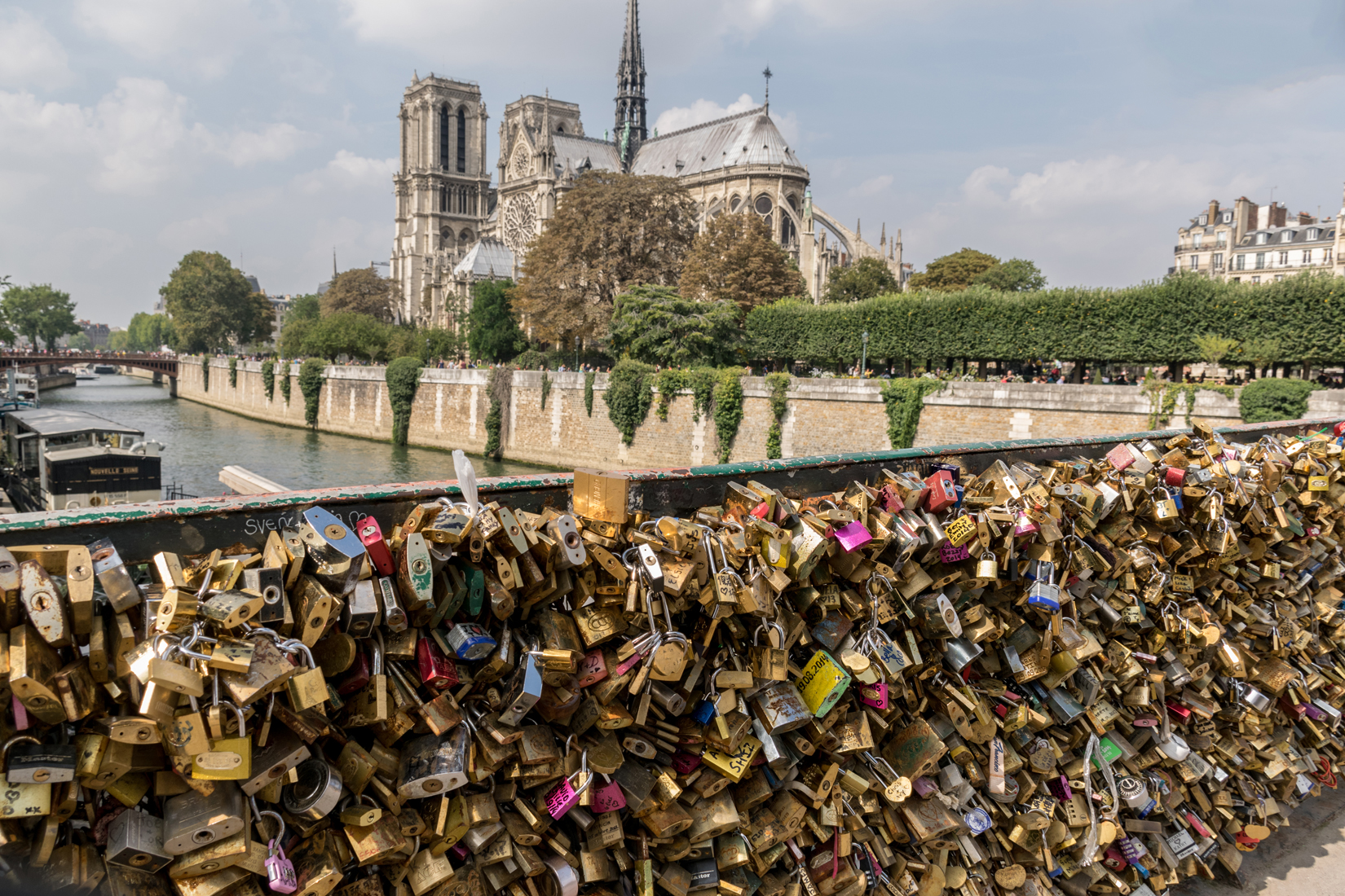The Pont de l'Archevêché bridge over the Seine covered in thousands of love locks