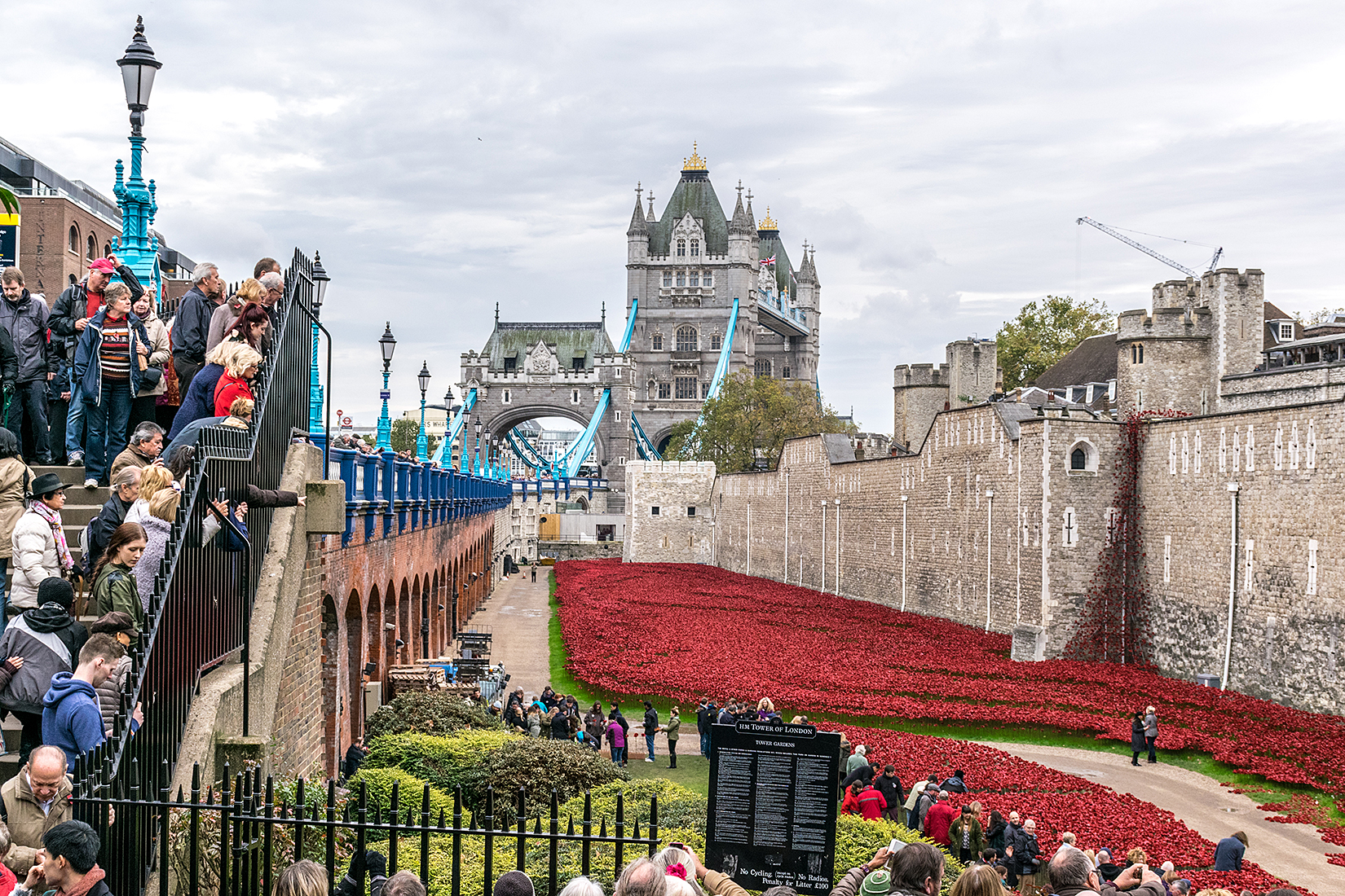 Tower Bridge and the 'Weeping Window' on the east wall