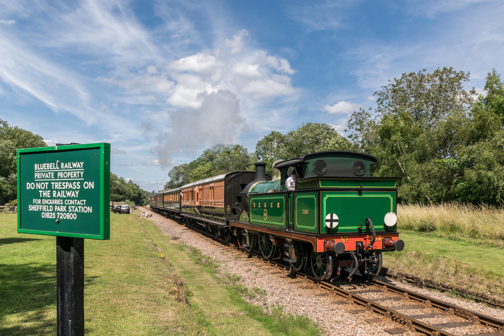 South Eastern & Chatham Railway, H-class 0-4-4T, No.263 heading south past the site of former West Hoathly station