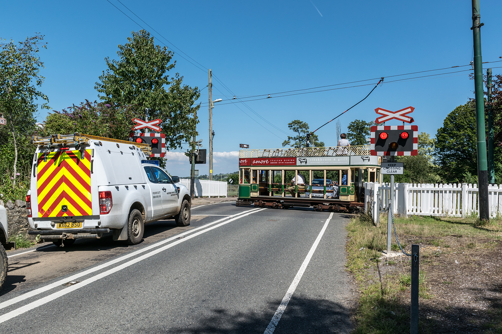 Traffic held for car 6 at Colyford level crossing