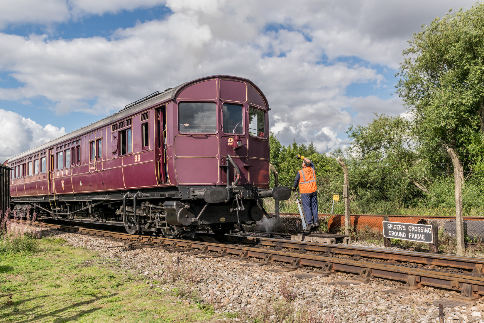 Steam Railmotor No. 93 at Spicers Crossing