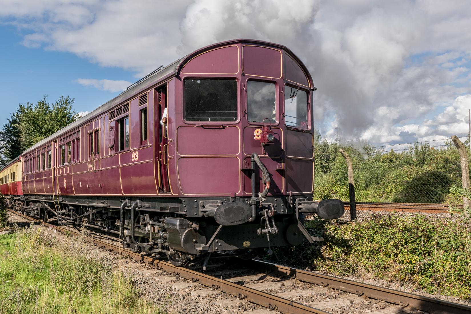 Steam Railmotor No. 93 working hard on the Demonstration Main Line