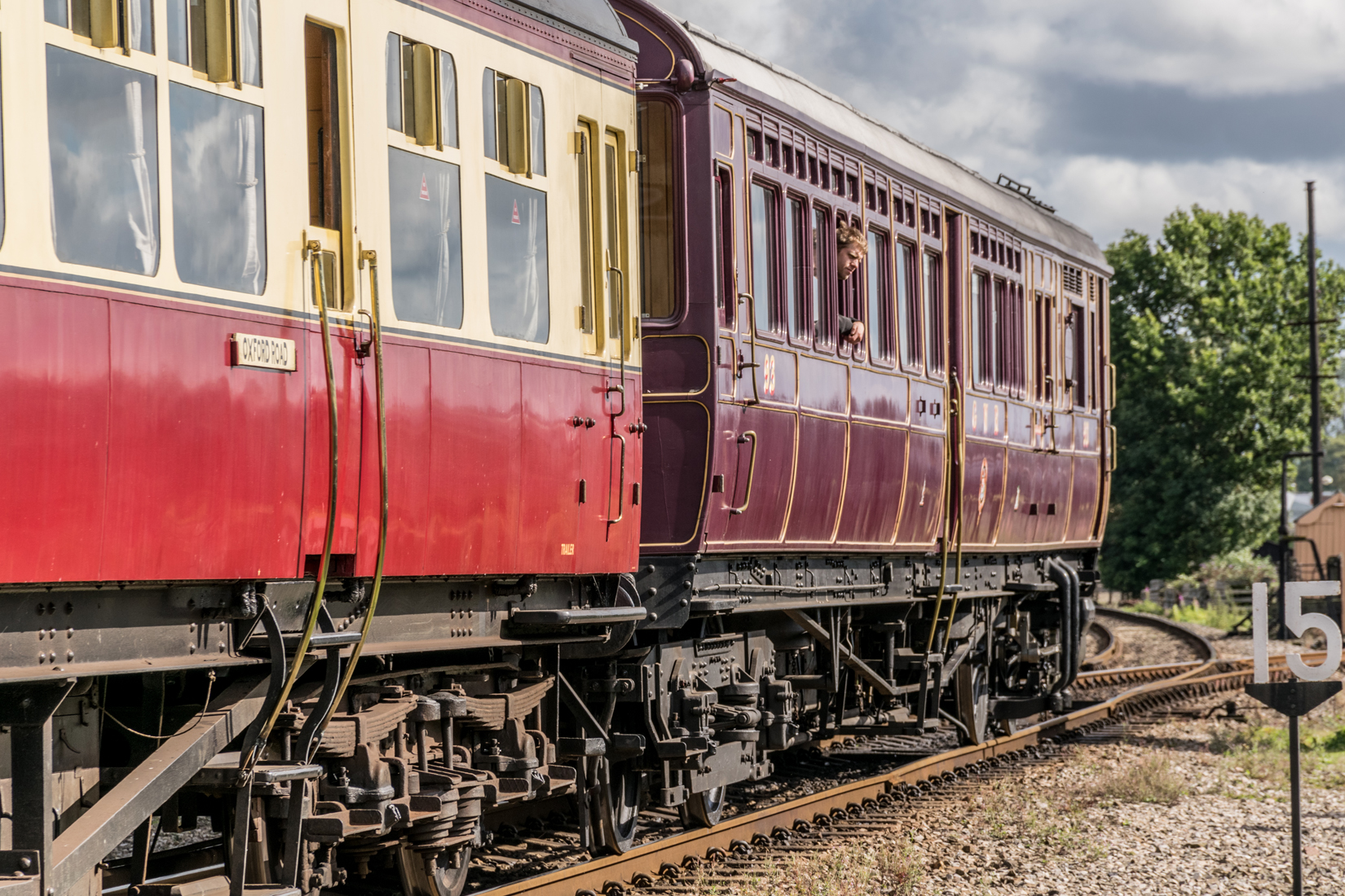 Steam Railmotor No. 93 runing in a three coach train format with 213 a Hawksworth Auto Trailer and 92 a Churchward Auto Trailer
