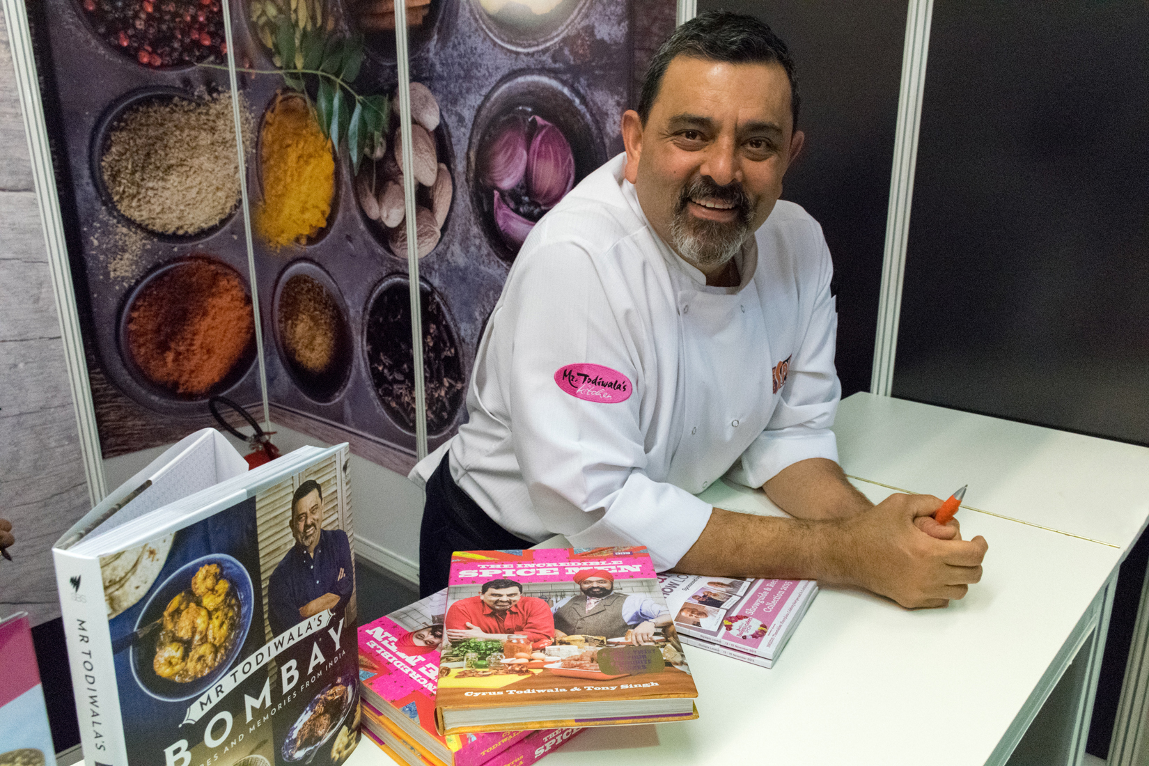 Celebrity chef Cyrus Todiwala at his Café Spice Namasté pop-up restaurant