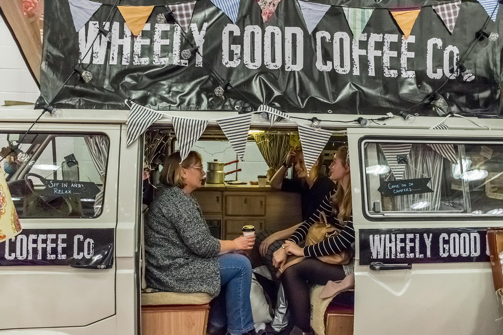 Campers at the Wheely Good Coffee Co