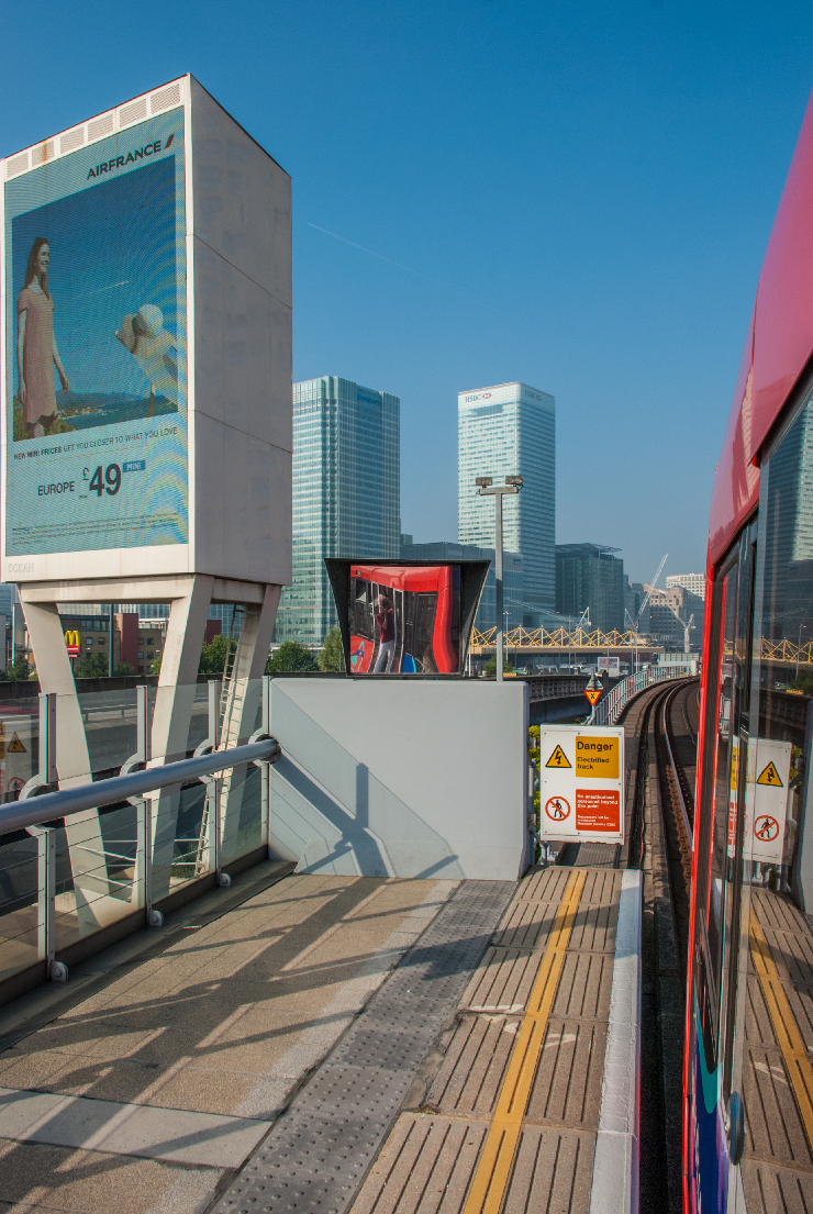 A view of Canary Wharf business district from Blackwall station