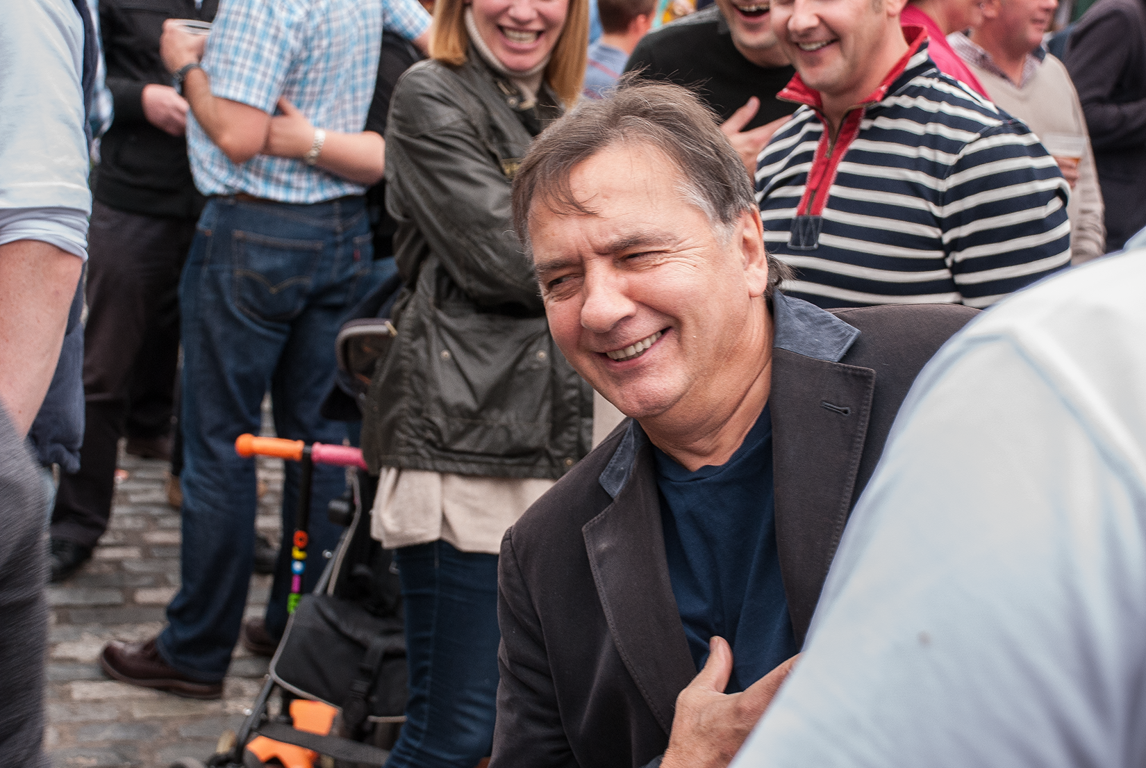 Raymond Blanc joking with the crowd