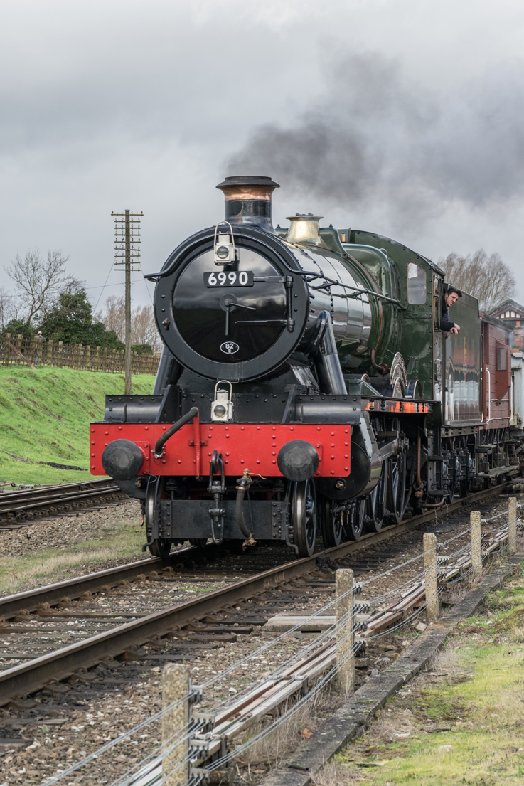 6990 Witherslack Hall leaving Quorn and Woodhouse with the demonstration freight train.