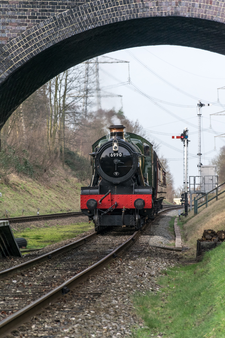 6990 Witherslack Hall arriving at Rothwell.