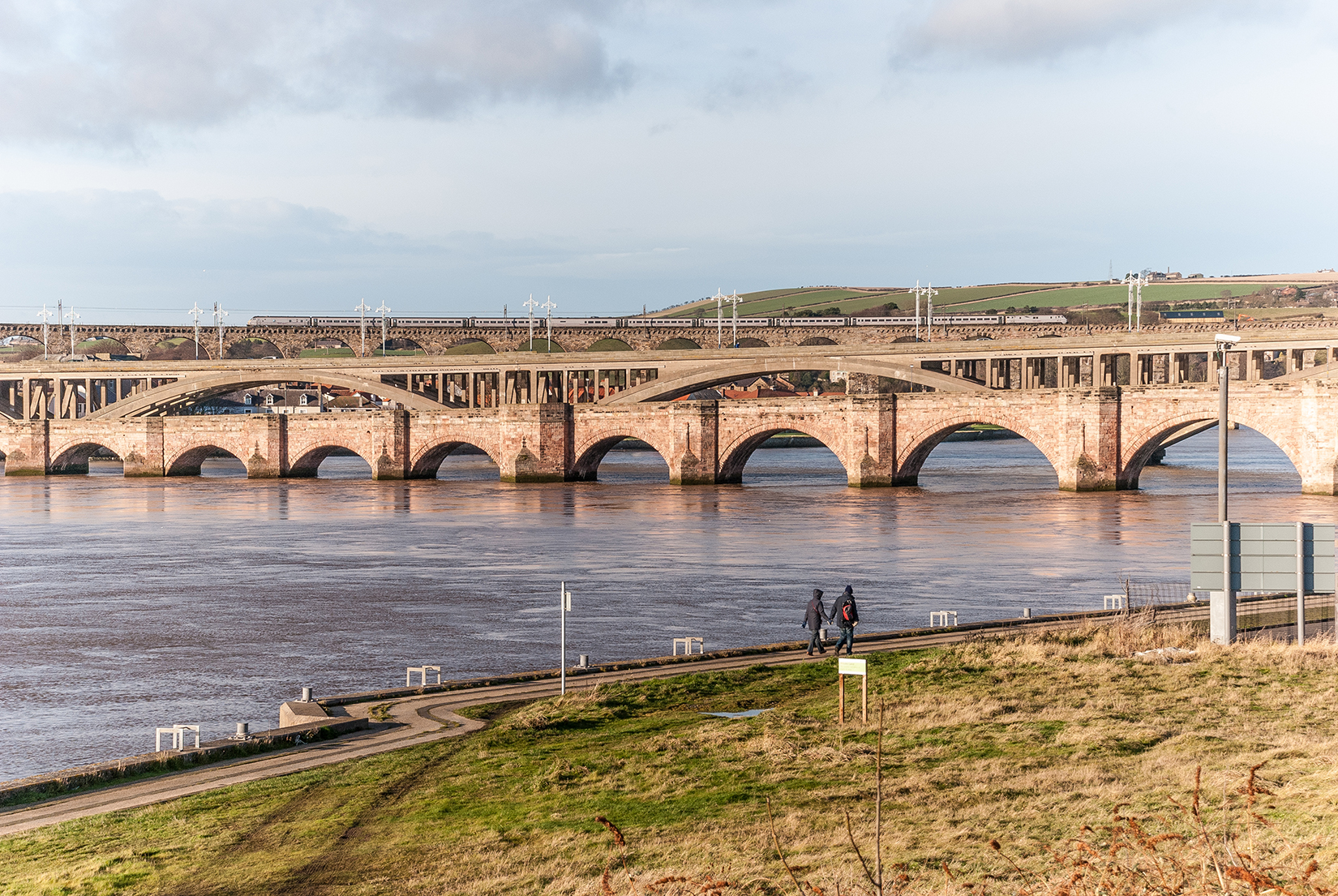 Rail and road bridges spanning the River Tweed