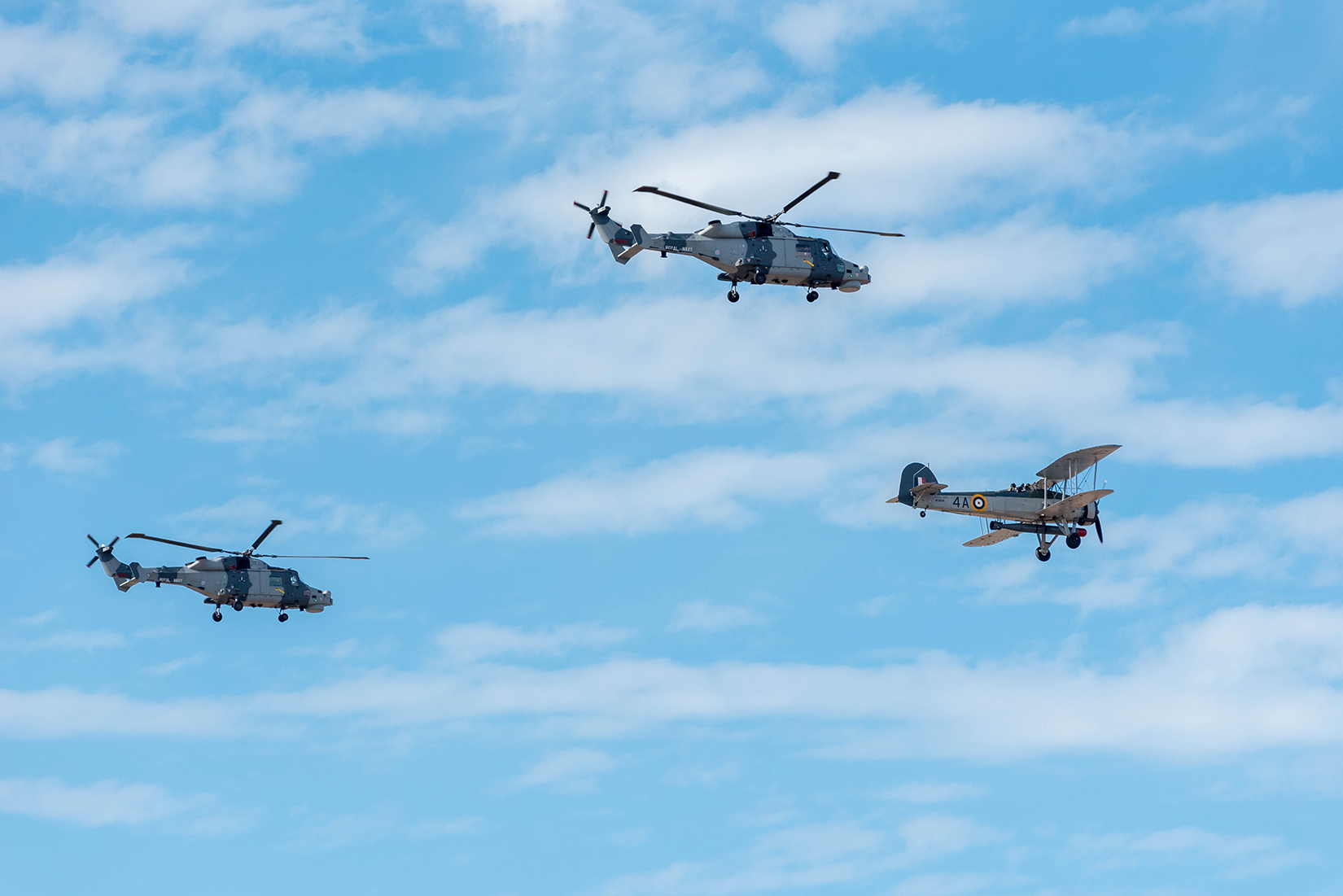 Royal Navy's Black Cats display team and Fairey Swordfish W5856