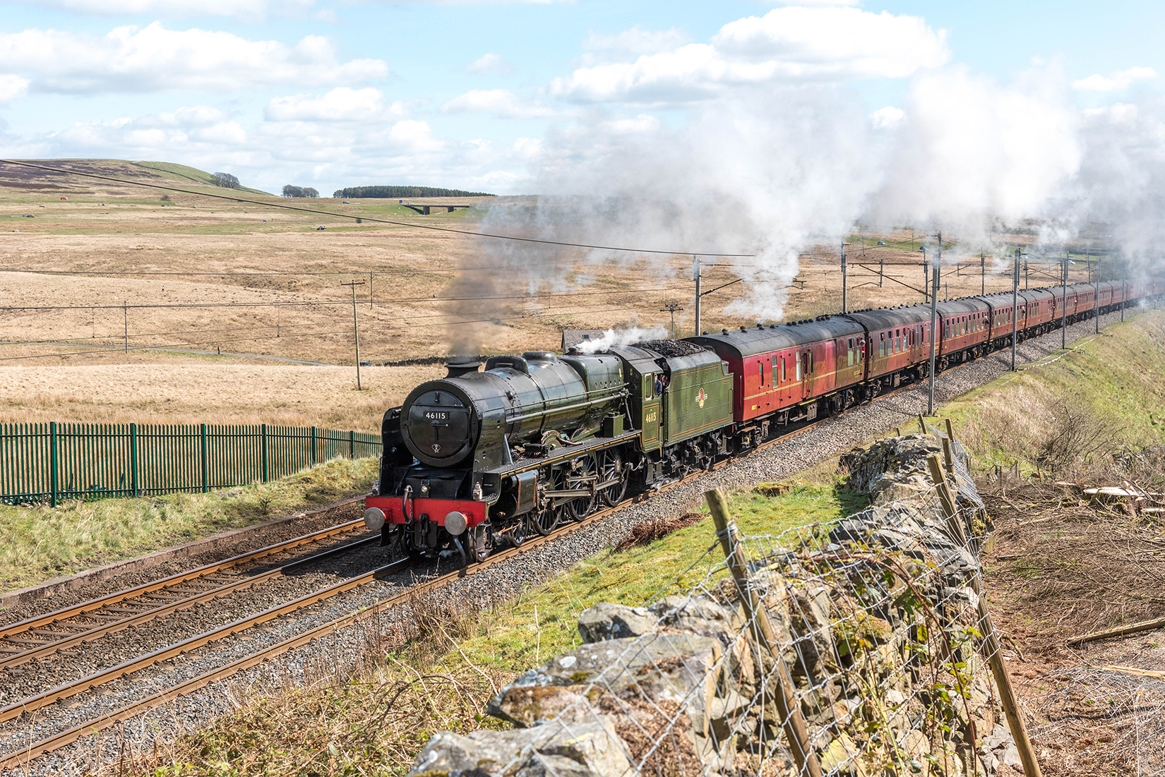 Royal Scot class 46115 'Scots Guardsman' powering past Shap Wells