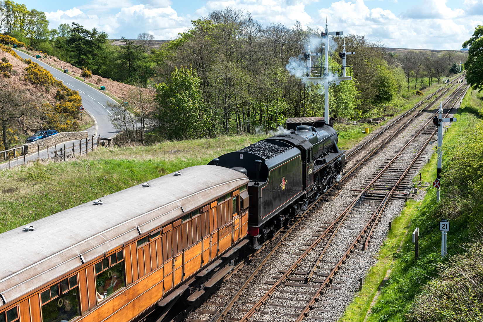 44806 heads out of Goathland hauling ex-LNER 'teak' coaches