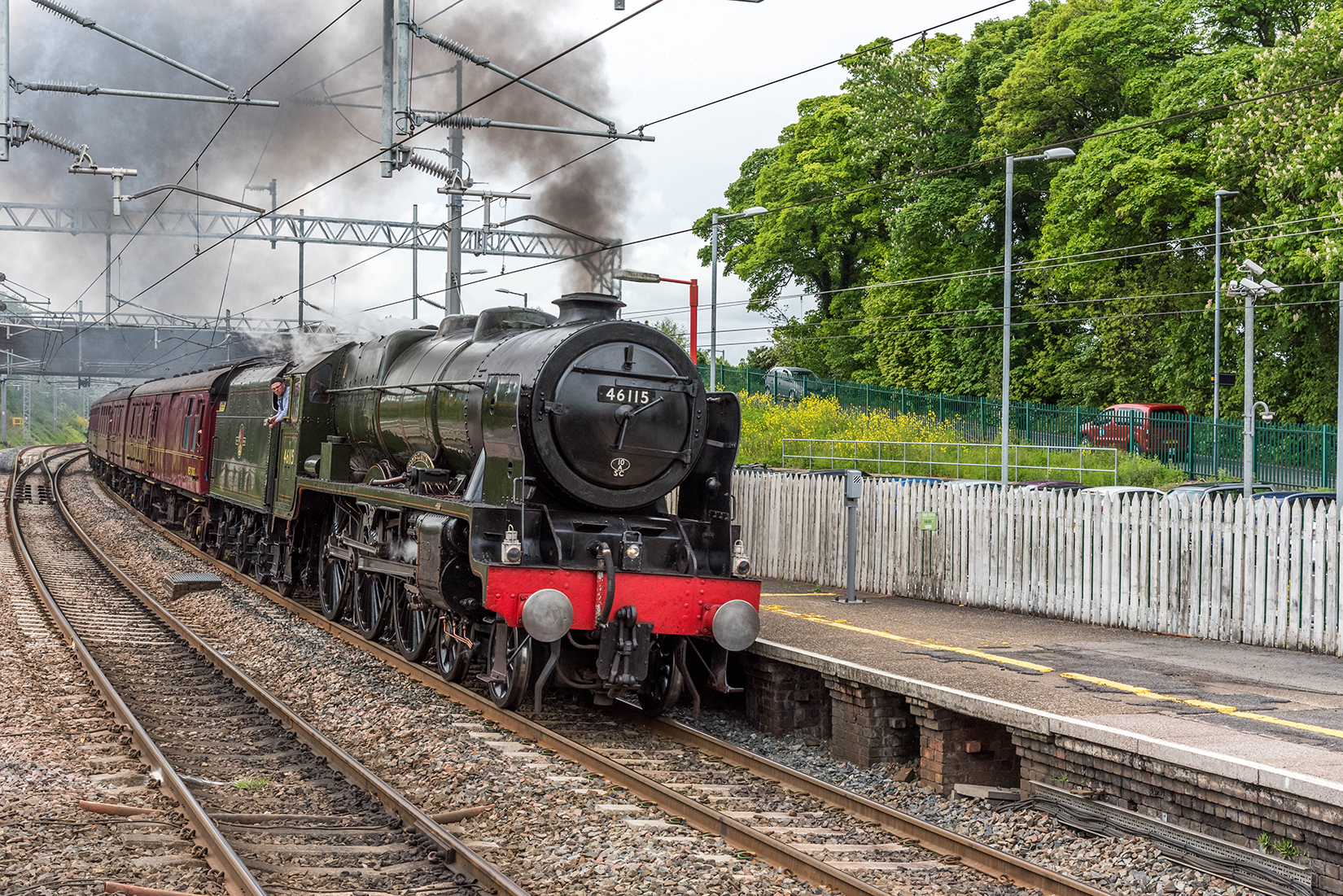Royal Scot class 46115 'Scots Guardsman' thundering through Oxenholme station