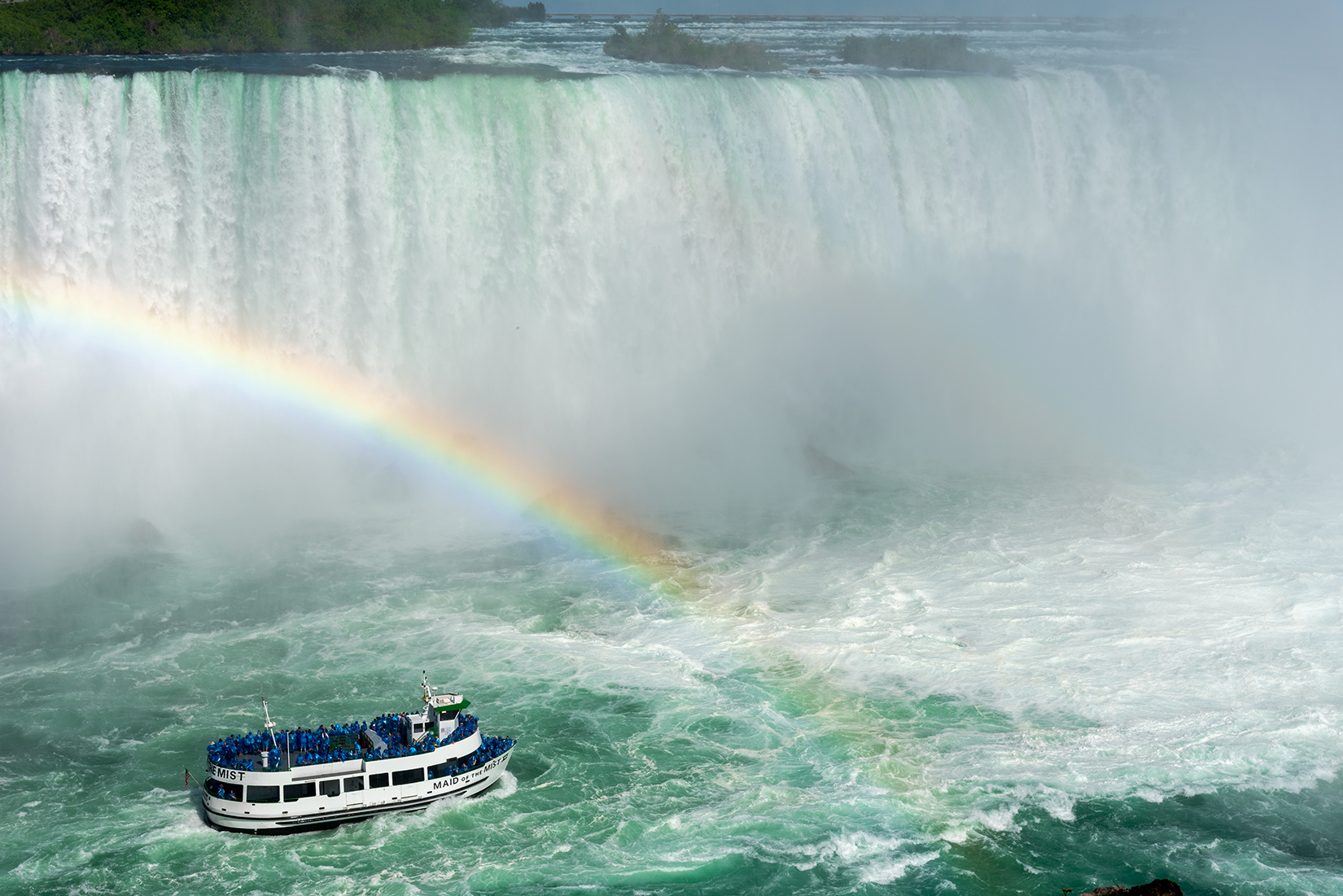 'Maid of the Mist' boat cruise which carries passengers into the rapids immediately below the falls