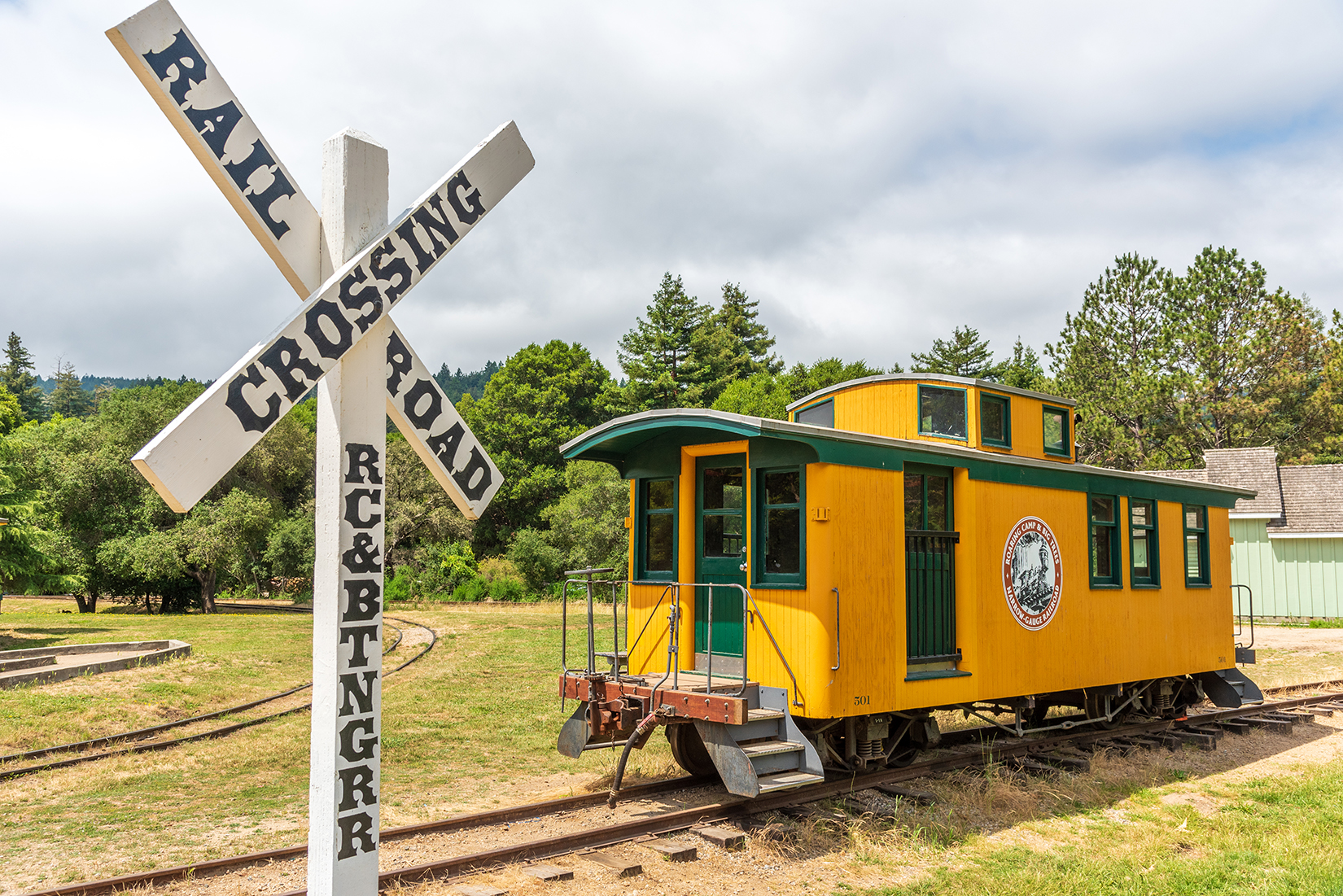 Preserved caboose at the entrance